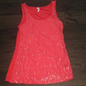 coral sequin tank top